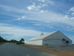 Coolgardie Esperance Highway WA. Grain Bin (amandabhslater) Tags: road trees sky australia western wa dayeight 2009 roadtrain