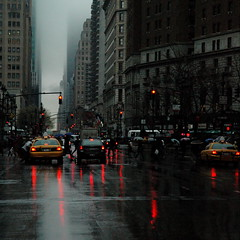 Dark city (DIDS') Tags: city nyc newyorkcity light red urban car rain misty dark square flickr manhattan trafic 500x500 dids flickrchallengegroup winner500