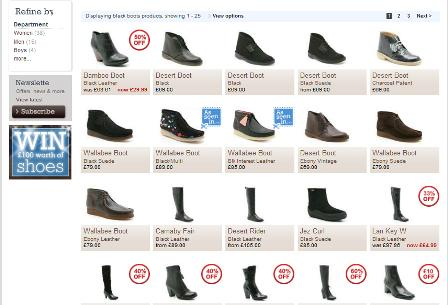 Clarks site search results