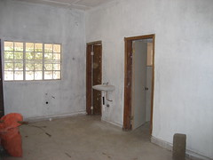 Wash basin, shower & toilet in the maternity ward.