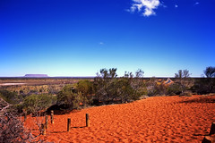 Landscape:Australia, red desert. (Gianluca, very busy!) Tags: road travel red vacation sky nature rock landscape sand strada desert australian australia bluesky outback australien vacations resource ciccio deserto northernterritory ayersrock mountconner australianimages reddesert uluro simplisticlandscape