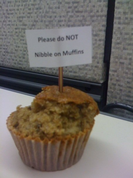 Please do NOT nibble on muffins.