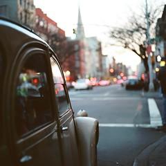 Old Time, Good Time (Inside_man) Tags: newyork reflection 120 6x6 mamiya tlr c220 film colors silhouette mediumformat colorful cityscape bokeh dusk manhattan citylife oldcar trafficsignal taillight portranc hbw bokehlicious oldtimegoodtime