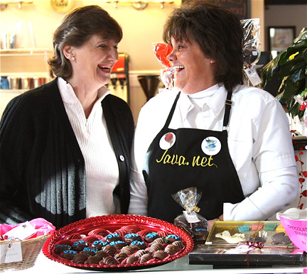 Marcia Wilson (left) of Route 66 Fudge Shop and Mary Miller of Java.net joined forces.