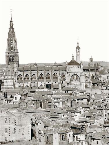 Torre del Reloj y Cimborrio de la Catedral de Toledo en 1872. Fotografía de Jean Laurent (detalle), Archivo Ruiz Vernacci