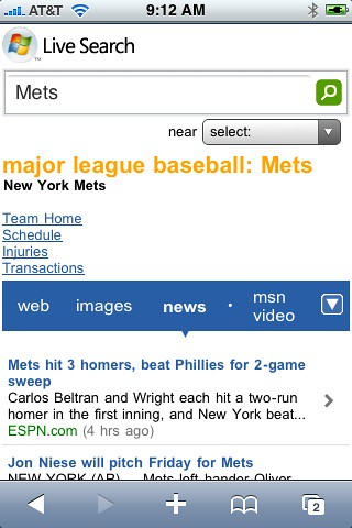 Live Search Mobile Baseball