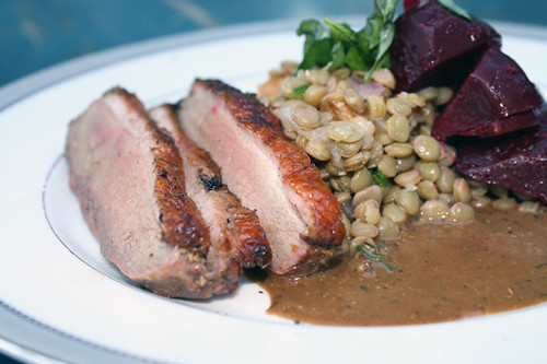 Crispy Smoked Duck with Lentil Salad and Beets 1
