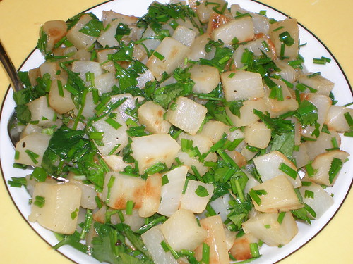 Braised Turnips with Chives and Parsley