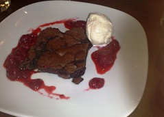 Chocolate brownie with ice cream at Nobles, Constitution St, Edinburgh