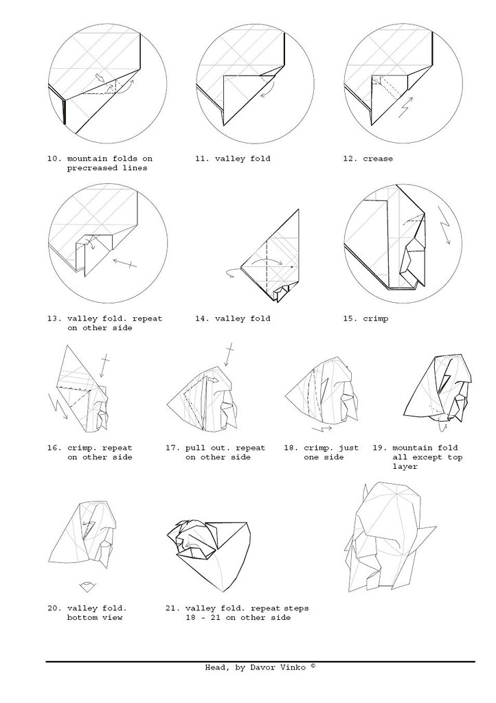 Head Diagrams2 Davor Vinko Origami Tags Face Paper 3d Mask Folding Diagrams