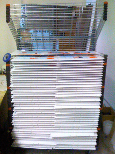 5 posters to a shelf, whew! 200+ Wilco posters printed and drying on the rack.