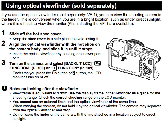 How to attach and use the VF-1 optical viewfinder, as explained on Page 135 of the Olympus E-P1 Manual