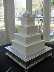Regan Gruber & Brandon Moffitt Wedding Cake (mandotts) Tags: flowers wedding white cake italian blossoms pearls bow vanilla ribbon swirls dots piping meringue fondant buttercream scrolls