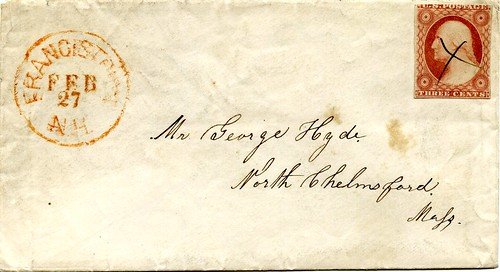 Letter from Francestown, New Hampshire to North Chelmsford, Massachusetts, February 1856