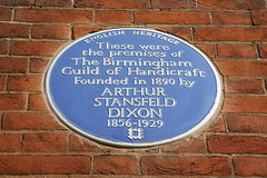 Photo of Arthur Stansfield Dixon and The Birmingham Guild of Handicraft blue plaque