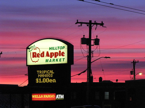 Red sky over Red Apple, Sunday evening. Photo by Wendi.