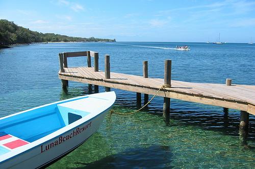 Luna Beach pier, Roatan, Honduras