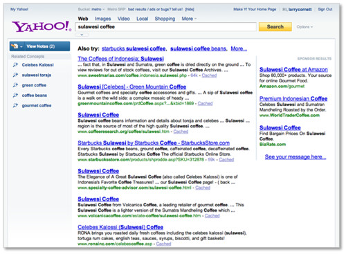 New Yahoo! Search Page - Related Concepts