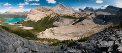 Bow Lake to Bow Glacier Falls Panorama (Marc Shandro) Tags: summer panorama lake nature river rockies high highresolution seasons bright alpine waterfalls resolution wilderness freshwater environments bowlake qualities banffpark