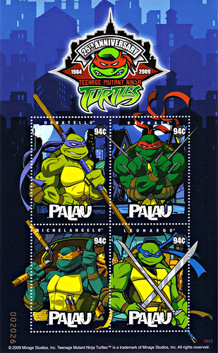 """TEENAGE MUTANT NINJA TURTLES 25TH ANNIVERSARY""  4 X 94¢ ""Republic of Palau "" Stamp  Sheetlet"