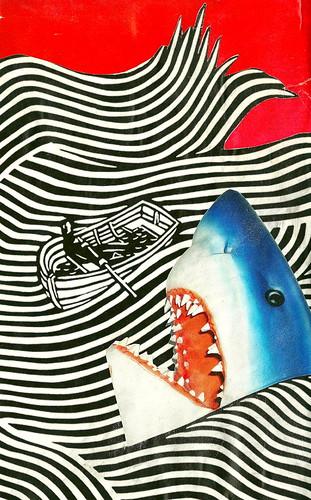 ocean red sea white black collage danger cutout magazine notebook shark boat fisherman stripes teeth