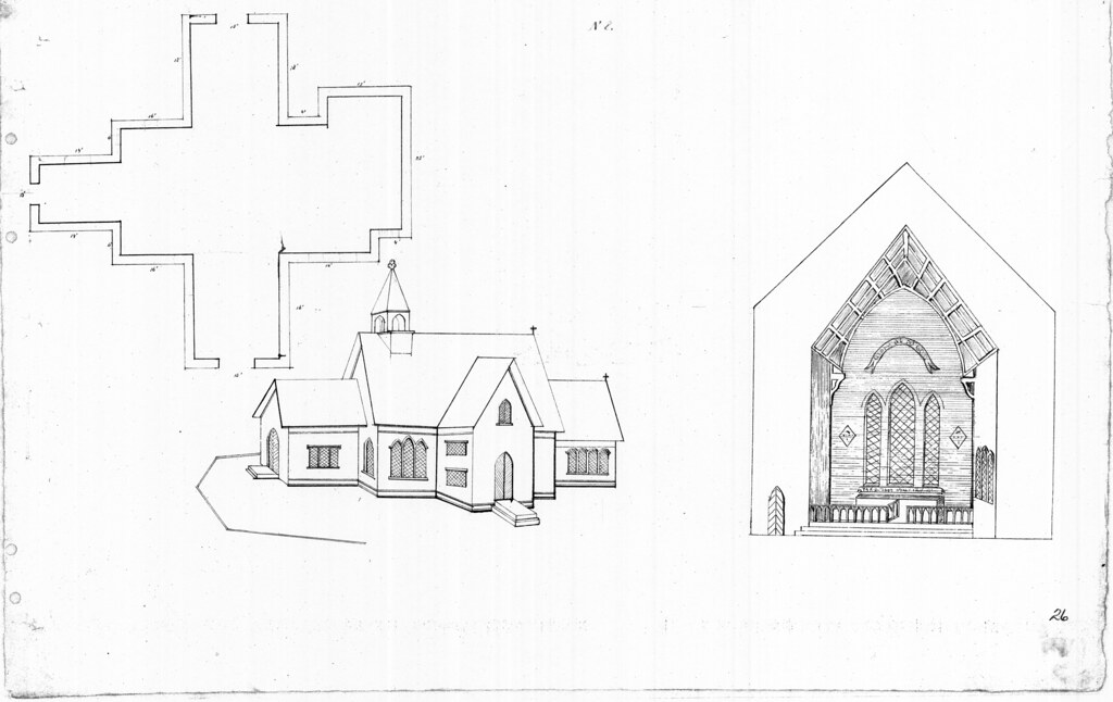 Governor's Island, NY Chapel of St Cornelius the Centurion elevations and floor plan additions