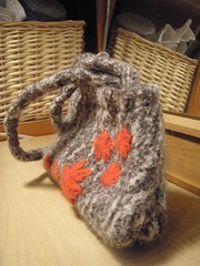 felted and upcycled alpaca purse