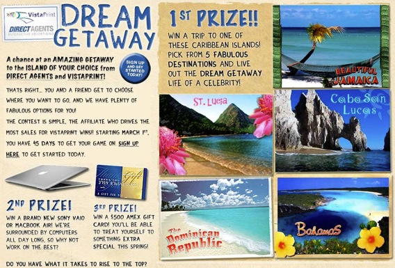 Direct Agent VistaPrint Dream Getaway