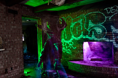 enraged (okbeatnik) Tags: house green abandoned oklahoma graffiti crazy fireplace purple flash psycho gels oklahomacity trashed strobist