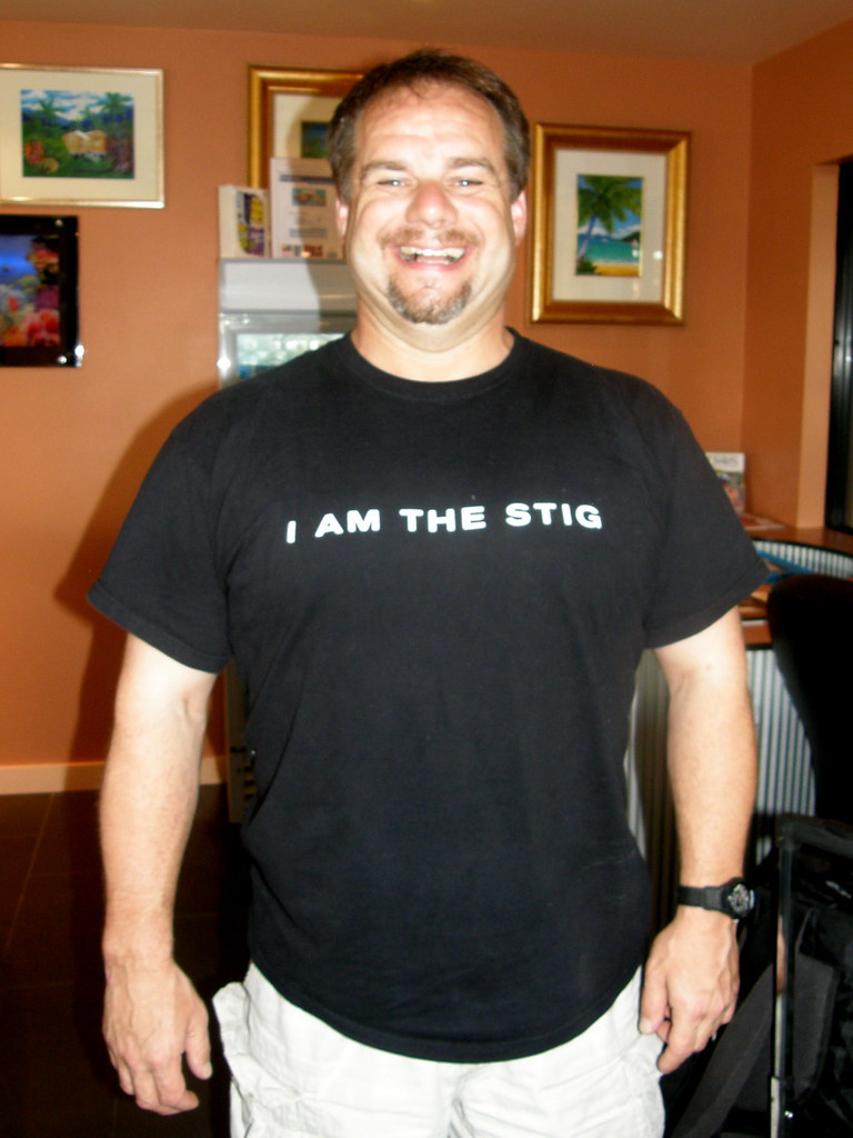 TV T shirt, front: I am the Stig #9496