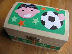 A Treasure Box for a football fan (Handmade in Israel) Tags: boy orange green stars football handmade treasurebox kippa woodenbox bukharankippa