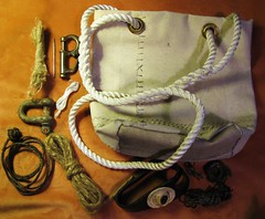 Boatswain's bag (Hannhell) Tags: ship rope palm needle whatsinyourbag sailor shackle boatswain monkeyfist sailcloth splicerope tarrope sackrope canvasyarn