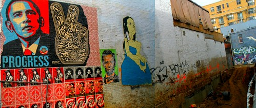 Murals by Shepard Fairey, Ron English + DECOY in a vacant lot at 14th + U St. NW, DC. March 2009.