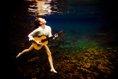 that girl with her guitar (SARAΗ LEE) Tags: white reflection girl shirt hawaii underwater guitar figure expressive bigisland fosho buttonup sarahlee legothenego niap vivantvie weliweli