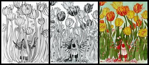 Tulips (two drawings and final) - Yuko Shimizu