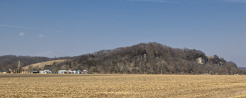 View of Meppen, Illinois, USA, from roadside showing bluffs