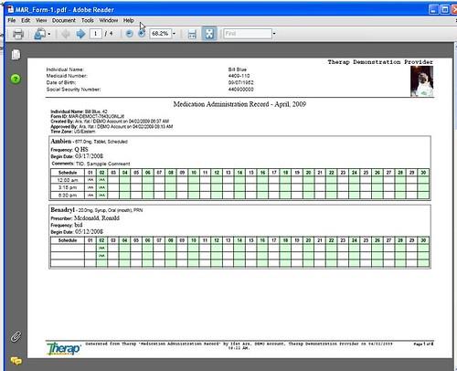 Screenshot of PDF version of MAR for printout.