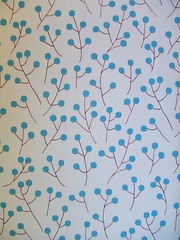 Mod Buds*Ecru (Paper Pie * Liz Scott) Tags: blue red color cute yellow fun design mod pattern graphic turquoise sewing crafts surfacedesign retro fabric round buds twigs fllower spoonflower creativetypes paperpie