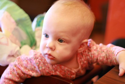 Cora's 1st time in a restaurant high chair
