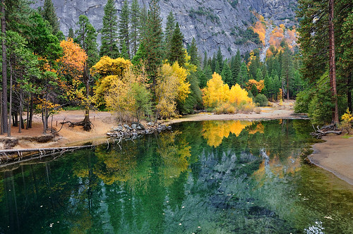 The Merced River reflecting Autumn, Yosemite
