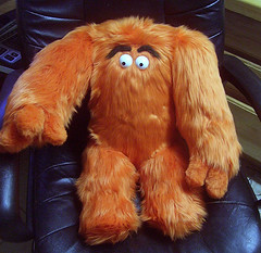 Extra Large Orange Grumbelly Monster with Hands (sugarglidergal) Tags: orange animal monster stuffed doll plush hungry grumbelly
