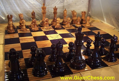Wooden Chess Board With The Glossy Chess Set