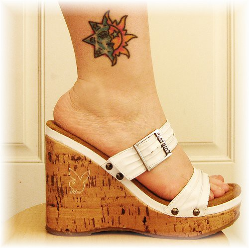 foot tattoos stars. Star and Sun Foot Tattoos