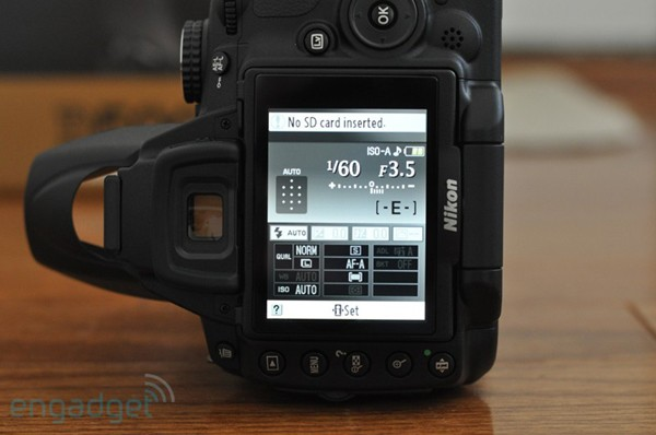 Rear LCD of the Nikon D5000 in vertical orientation, copyright Engadget