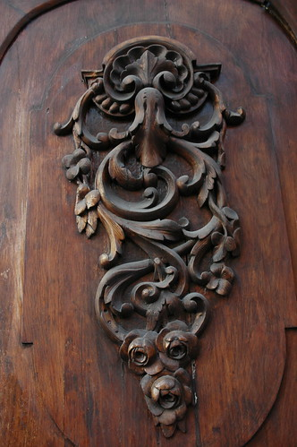 Ornate wooden flourish, antique door, public building, Guadalajara, Jalisco, Mexico by Wonderlane