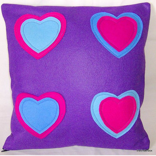 Pop Art Hearts Felt Pillow