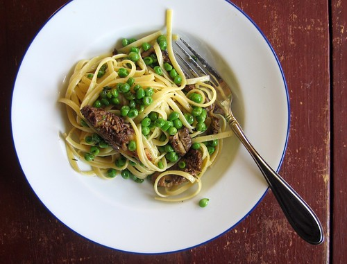 morel and pea pasta from above