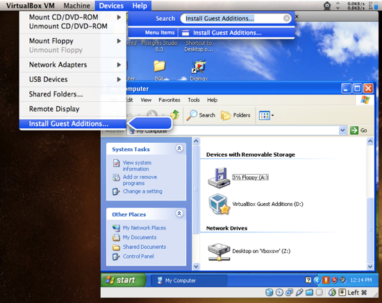 VirtualBox. Install Guest Additions