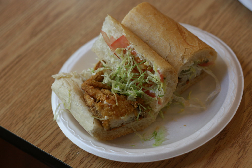 Soft shell crab po boy in the garden district