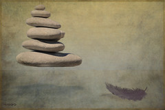 zenitude (ixos) Tags: friends art texture photoshop stones surrealism levitation creation zen meditation pierres om plume galets surralisme justimagine ixos photographydigitalart unlimitedphotos